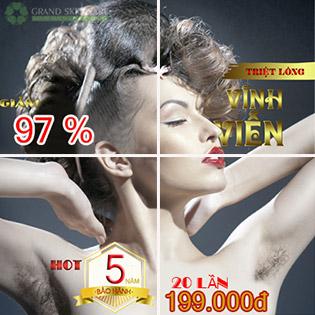 20 Lần + BH 05 Năm Không Giới Hạn Số Lần Triệt Lông CN Diode Laser - Grand Skin Care - Thương Hiệu Uy Tín Sài Gòn