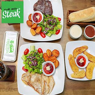 Hệ Thống Thế Giới Steak - Combo Steak Pháp Giá Việt + Bánh Mì Bơ Tỏi, Khoai Tây Chiên, Salad, Nước Ngọt Cho 02 Người