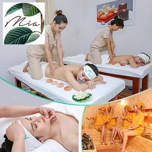 Combo Làm Đẹp Cao Cấp: Massage Body Đá Muối Himalaya + Xông Hơi Sauna/ Thanh Tẩy Trắng Da Thảo Mộc/ Chăm Sóc Da Mặt Tinh Chất Dầu Cừu Úc Tại Mia Spa