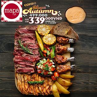 Combo Mapa Autumn: Bò Nướng Địa Trung Hải, Gà Nướng Trung Đông + Salad, Khoai Chiên, Rau Củ