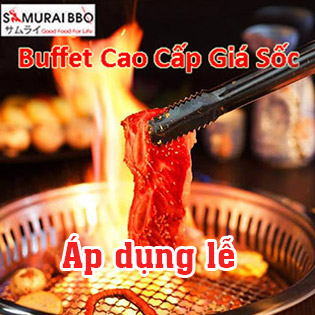 Buffet Trưa Samurai BBQ - Gần 70 Món BBQ & Lẩu Bò Mỹ, Hải Sản & Sushi – Tặng Buffet Kem