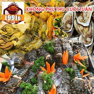 Buffet Tối Sân Thượng Hơn 40 Món Hải Sản, Thịt Bò Nướng Tại 1991s BBQ - View Cực Đẹp, Ăn No Nê, Giá Miễn Chê, Không Phụ Thu Cuối Tuần