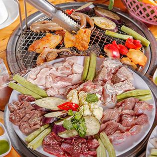 Set Nướng Siêu Rẻ 5 Món Bò, Heo, Hải Sản Cho 02 Người - Thùng Phi Nướng