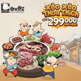 Hệ Thống Gogi House - Xèo Xèo Premium Buffet - Menu 299.000Đ