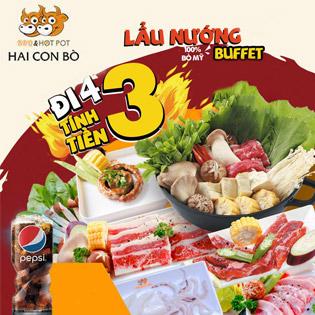 Hệ Thống Hai Con Bò - Buffet Nướng & Lẩu Hải Sản, Bò Mỹ Cao Cấp Menu 399K - Free Tráng Miệng + Kem Fanny