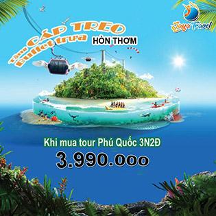 Tour TPHCM – Phú Quốc 3N2Đ - Khứ Hồi Máy Bay- Nghỉ KS 3*- Tặng Vé Cáp Treo Hòn Thơm - Khởi Hành Thứ 6 Hàng Tuần