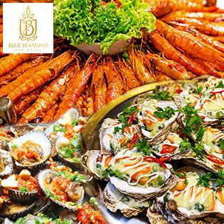 Buffet Trưa Với Hơn 40 Món Hấp Dẫn - Tặng Nước Sâm Giải Nhiệt Uống Thoải Mái Tại Khách Sạn Blue Diamond 3*