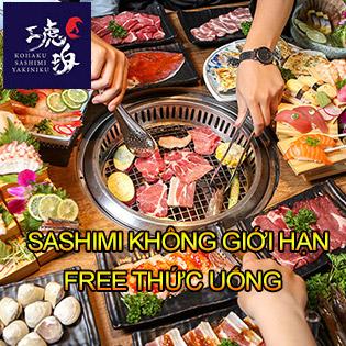 Hot - Kohaku Buffet Sashimi, Nướng & Lẩu Hơn 120 Món Bò Mỹ, Hải Sản Cao Cấp - Free Buffet Nước