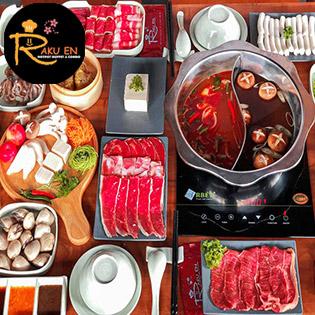 Buffet Lẩu Nhật Hải Sản, Bò Mỹ & Dimsum Với 60 Món Nhúng Và 5 Vị Nước Lẩu – Miễn Phí Tráng Miệng Tại Rakuen Hotpot
