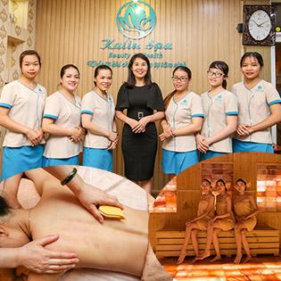 Miễn Tip Trọn Gói Chải Thông Kinh Lạc Toàn Thân + Massage Đầu + Ấn Huyệt Giảm Stress + Xông Hơi Hymalaya Không Giới Hạn - Hệ Thống 5 CN Kalin Spa