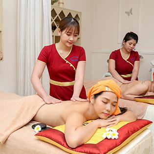Miễn Tip - (90') Massage Body Aroma + Đá Nóng + Foot + Xông Hơi + Đắp Mắt + Nằm Gối Nóng Thảo Dược - TTTM Đại Việt