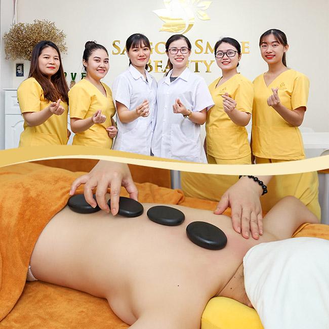 Buffet Spa 110 Phút Massage Body, Foot Đá Nóng + Ấn Huyệt Shiatsu Nhật Bản + Chăm Sóc Da Mặt/ Ủ Muối Himalaya/ Gội Đầu Dưỡng Sinh Cho Nữ, Couple Tại Saigon Smile Beauty