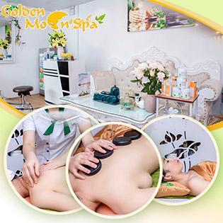 Massage Body Đá Nóng + Bấm Huyệt + Ngâm Chân Thảo Dược Tại Hệ Thống Golden Moon Spa