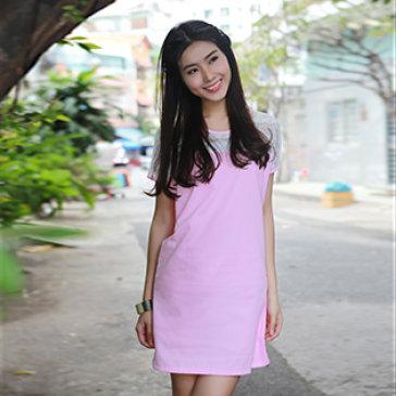 Đầm Demin Kaki Phối Ren