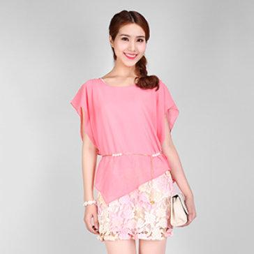 Đầm Chân Váy Ren Hoa + Dây Ngọc Trai Cao Cấp