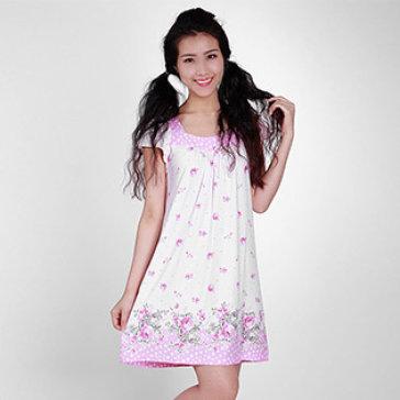 Đầm Ngủ Hoa Hồng Thun Lụa Cổ Chấm Bi