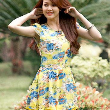 Đầm Voan Hoa Nắng Thu