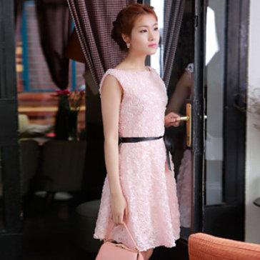 Đầm Xòe Kết Hoa Hồng Màu Hồng Phấn