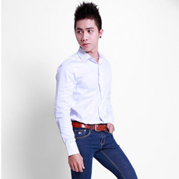 Áo Sơ Mi Nam Thời Trang 2014 Màu Xanh Sọc Đen Size L