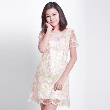 Đầm Sweet Ren Voan Hoa Hồng Lót Hồng