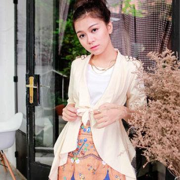Áo Giả Vest Vạt Xéo Thời Trang Màu Kem
