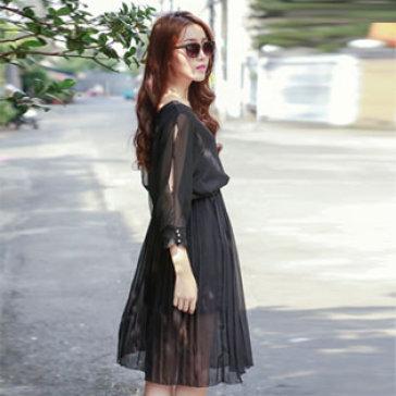 Đầm Xếp Ly Tay Cách Điệu Màu Xanh