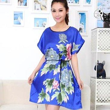 Đầm Ngủ Phi Bóng Màu Xanh