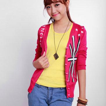 Áo Khoác Len Dệt Fashion Màu Đỏ