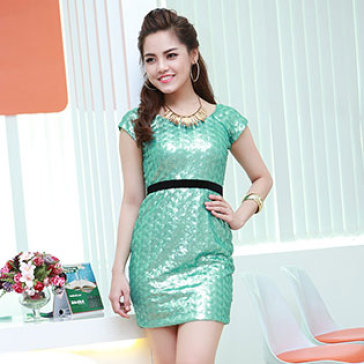 Đầm Kim Sa Dự Tiệc Trễ Vai Size M