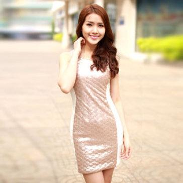 Đầm Kim Sa Phối Màu Size M