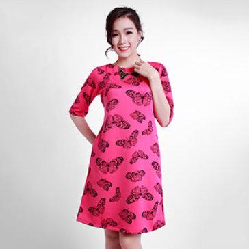 Đầm Suông Họa Tiết Cánh Bướm  Màu Trắng