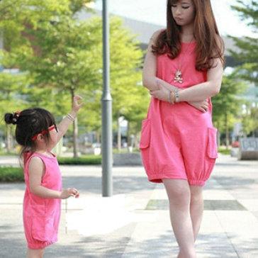 Combo Đầm Thun Cotton Cho Mẹ Và Bé Màu Hồng