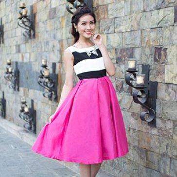 Đầm Vintage Phối Sọc