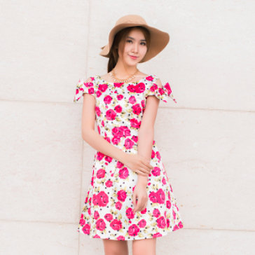 Đầm Xòe Hoa Hồng Tay Nơ