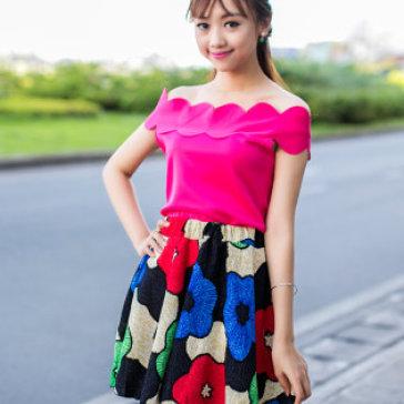 Set Áo Cắt Lazer Chân Váy Hoa Sành Điệu