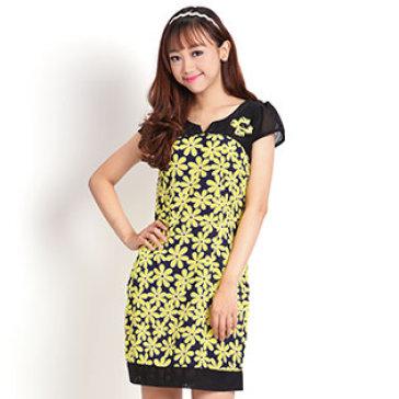Đầm Hoa Mai Form Suông Thanh Lịch