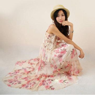 Đầm Maxi Voan Hoa Hồng