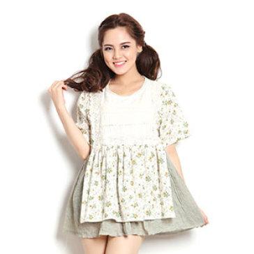 Áo Hoa Xoè Cotton Phối Ren Xuất Khẩu - Japan Style