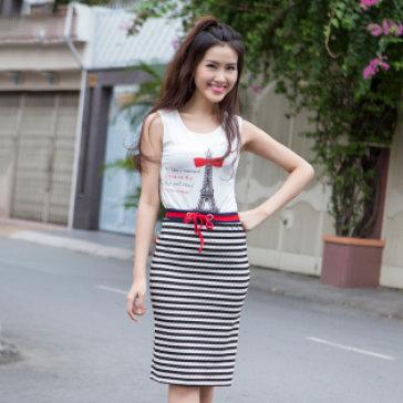 Bộ Đầm Chân Váy Sọc + Áo Không Tay