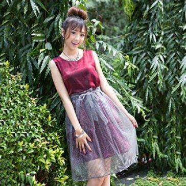Bộ Đầm Ánh Bạc Áo Xẻ Chân Váy Nơ Eo