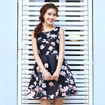 Đầm Vintage Dáng Xòe Sakura