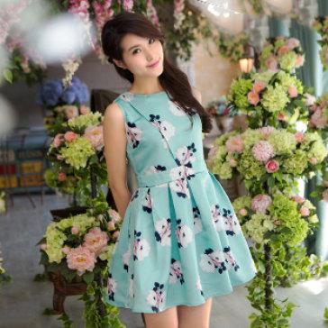 Đầm Hoa Trà Đắp Chéo Thanh Lịch - Cao Cấp