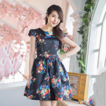 Đầm Hoa Dáng Xòe Cao Cấp