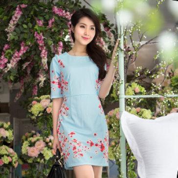 Đầm Hoa Sakura Form Suông Tay Lỡ