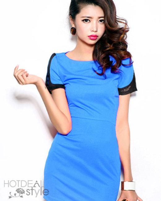 Đầm Body Tay Lưới Màu Xanh