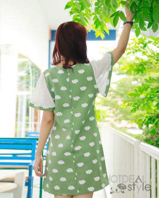 Đầm Form Suông Tay Voan Màu Xanh Rêu