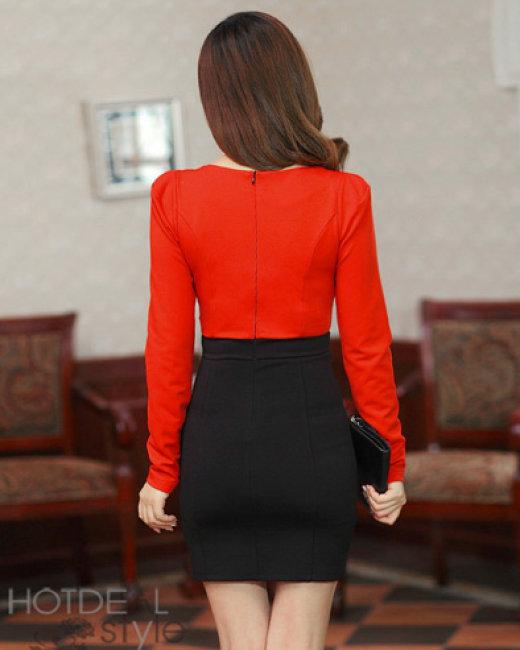 Đầm Công Sở Phối Kim Sa