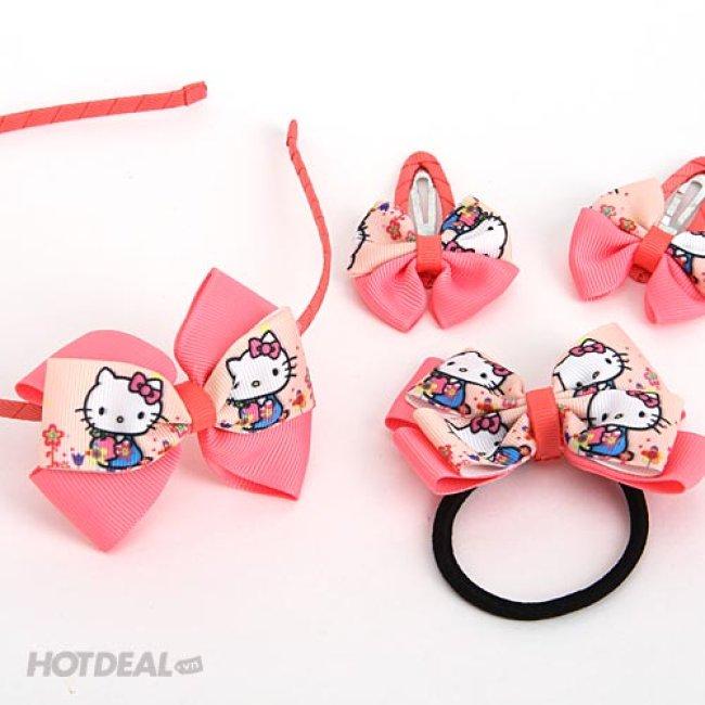 Combo 1 Cài + 1 Cột Tóc + 2 Kẹp Tóc Hello Kitty