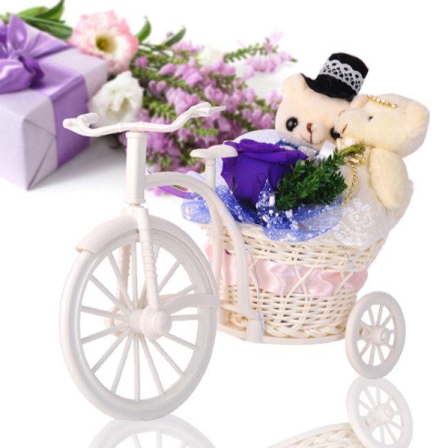 Kết quả hình ảnh cho Xe đạp hoa gấu bông