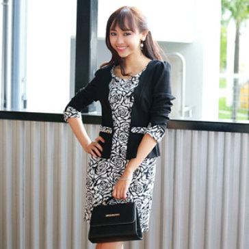 Đầm Hoa Hồng Kèm Áo Khoác Giả - Size Trung Niên L, XL